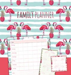 family planner flamingo -sticky notes + memoblok