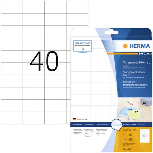 ETIKET HERMA 4684 A4 52.5X29.7MM TR -UNIVERSELE PRINTERETIKETTEN 4684 FOLIE PERM