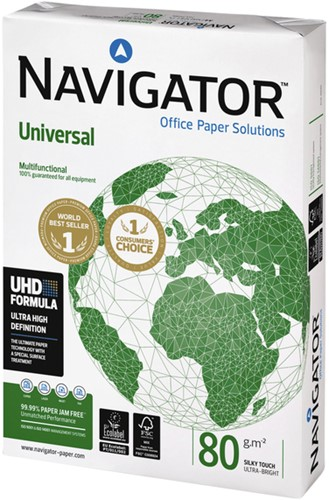 KOPIEERPAPIER NAVIGATOR UNIVERSAL A4 -KOPIEERPAPIER WIT CP080C1F11A4 80GR WIT