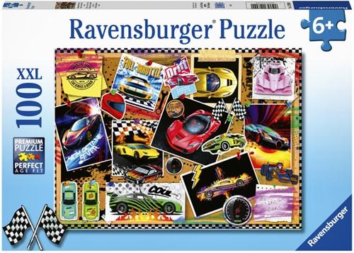 PUZZEL RAVENSBURGER PRIKBORD RACEAUTOS -SPEELGOED EN PUZZELS 128990 100 STUKJES