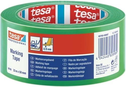 MARKERINGSTAPE TESA 60760 PVC 50MMX33M -PLAKBAND EN PLAKBANDHOUDERS 60760-00097-15 GROEN