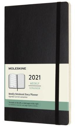 Moleskine 12 MND Agenda - 2021 - Wekelij -AGENDA'S BTB 86016033-2020 ZWART soft-cover