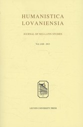 HUMANISTICA LOVANIENSIA -JOURNAL OF NEO-LATIN STUDIES