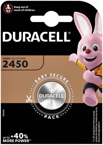 BATTERIJ DURACELL 2450 LITHIUM -BATTERIJEN KNOOPPCEL 5000394030428 Batterij duracell dl2450