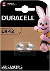 BATTERIJ DURACELL LR43 ALKALINE 2PCK -BATTERIJEN KNOOPPCEL 5000394052581 850MAH