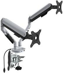 MONITORARM EUROSEATS DUBBEL+USB POORTEN -FLATSCREENSTANDAARDEN EN ARMEN 17.ARM.002.WH WIT