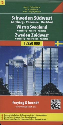 F&B Zweden 2 Zuidwest, Goteborg, Van -Toeristische wegenkaart 1:250 000 FREYTAG