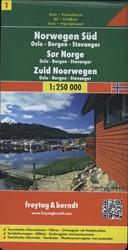F&B Noorwegen 1, Zuid, Oslo, Bergen, -Toeristische wegenkaart 1:250 000 FREYTAG