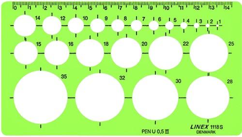 SJABLOON LINEX 1118S CIRKELS MET -SJABLONEN 100413075 INKTVOETJES