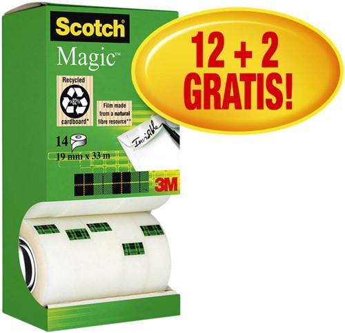 PLAKBAND 3M SCOTCH 810 19MMX33M MAGIC -PLAKBAND EN PLAKBANDHOUDERS 81933VP3 ONZICHTBAAR