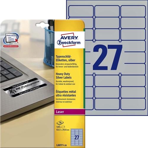 ETIKET AVERY L6011-20 63.5X29.6MM 540ST -LASER ETIKETTEN L6011-20 ZILVER