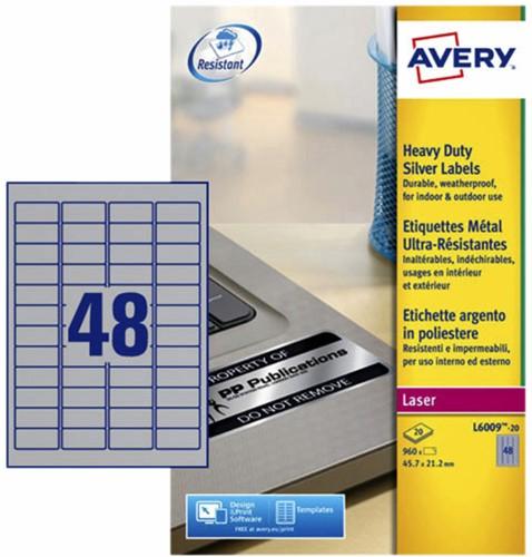 ETIKET AVERY L6009-20 45.7X21.2MM 960ST -LASER ETIKETTEN L6009-20 ZILVER