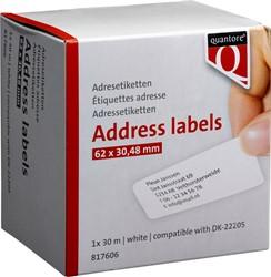 LABEL ETIKET QUANTORE DK-22205 -LABELPRINT ETIKETTEN Q22205 62MMX30.48M WIT