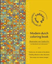 Modern dutch coloring book -kleurboek voor volwassenen Vis, Saskia
