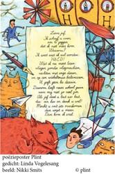 Poeziekaart Vogelesang Lieve juf -set van 10 met enveloppen