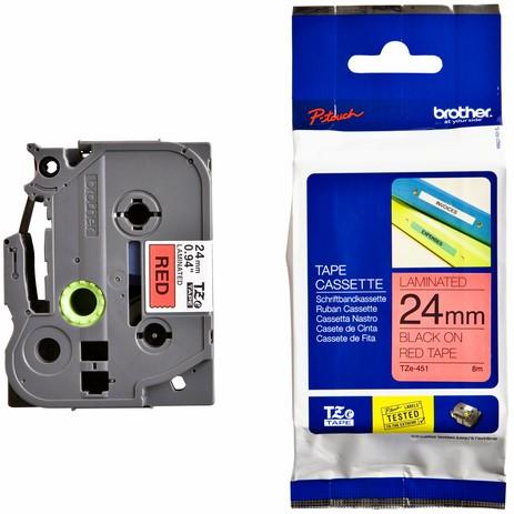Labeltape brother tze-451 24mmx8m -Lze451 TZE451 Rood/zwart