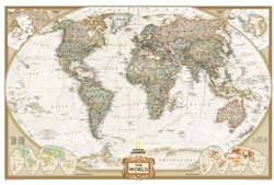 World political antique flat laminated E National Geographic Maps - Ref