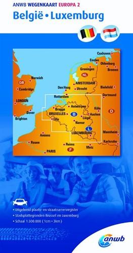 Wegenkaart 2. Belgie/Luxemburg ANWB