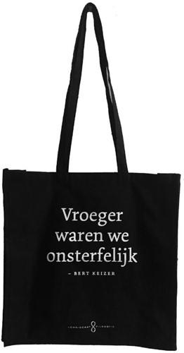 Zwart linnen filosofie tassen 5 ex -'vroeger waren we onsterf ' - Bert Keizer