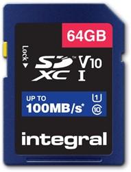 GEHEUGENKAART INTEGRAL SDHC V10 64GB -GEHEUGENKAARTEN INSDX64G-100V10 NOTEBOOKTAS CASE LOGIC TOPLOAD 15.4&quot