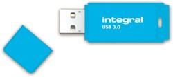 USB-STICK INTEGRAL 64GB 3.0 NEON BLAUW -USB STICKS INFD64GBNEONB3.0 ZWART