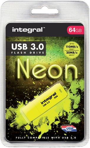 USB-STICK INTEGRAL 64GB 3.0 NEON GEEL -USB STICKS INFD64GBNEONYL3.0