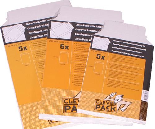 ENVELOP CLEVERPACK B4 250X353MM KARTON -BORDRUGENVELOPPEN 530401 WIT