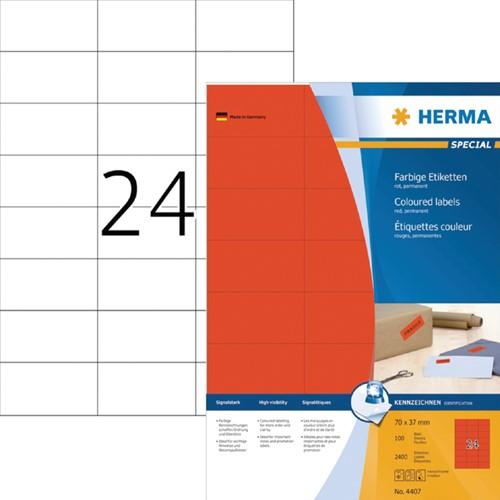 ETIKET HERMA 4407 70X37MM ROOD 2400ST -UNIVERSELE PRINTERETIKETTEN 4407 Rood 2400st