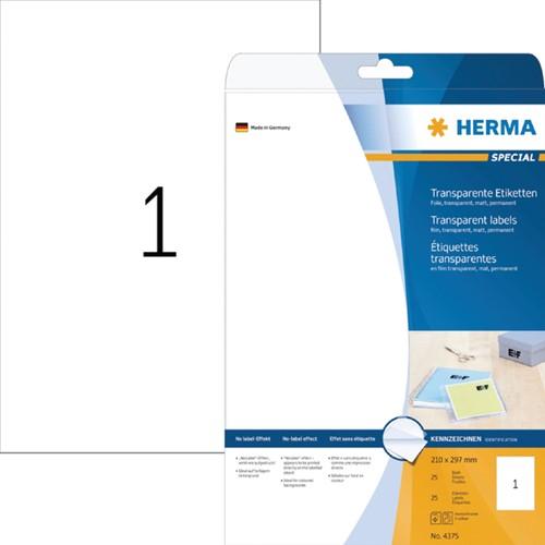ETIKET HERMA 4375 A4 FOLIE TR 25ST -UNIVERSELE PRINTERETIKETTEN 4375 KOPIEERETIKETTE