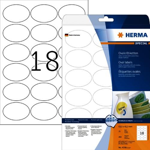 ETIKET HERMA 4358 63.5X42.3MM OVAAL -UNIVERSELE PRINTERETIKETTEN 4358 MOVABLE 450ST WIT