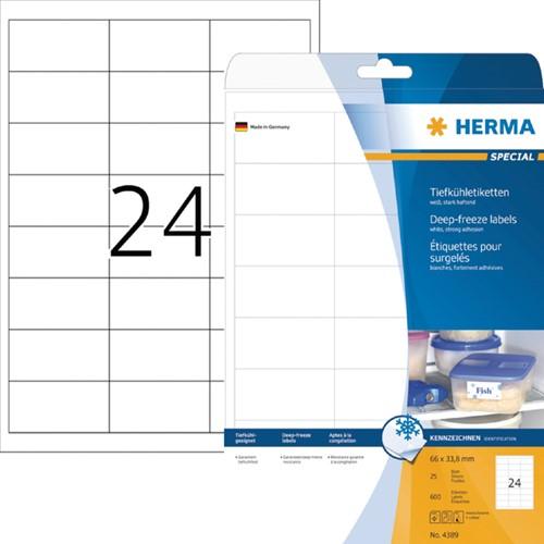 ETIKET HERMA 4389 66X33.8MM A4 -UNIVERSELE PRINTERETIKETTEN 4389 DIEPVRIES 600ST WIT