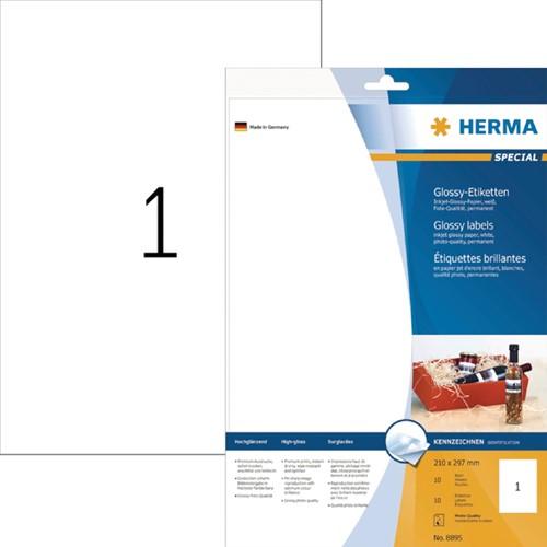 ETIKET HERMA 8895 210X297MM A4 10ST WIT -UNIVERSELE PRINTERETIKETTEN 8895