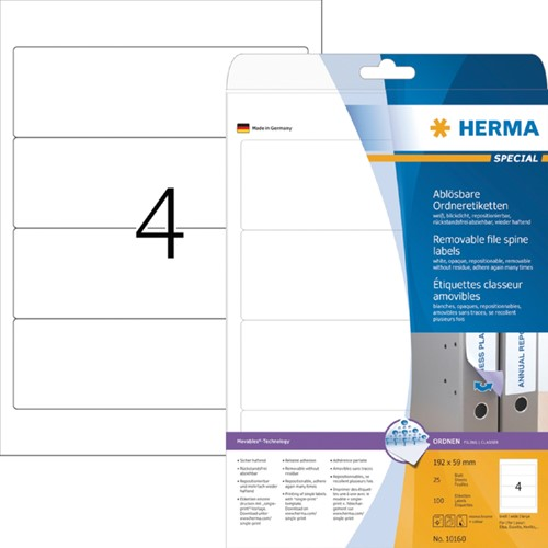 RUGETIKET HERMA MOVABLE 10160 192X59MM -RUGETIKETTEN 10160 100ST WIT