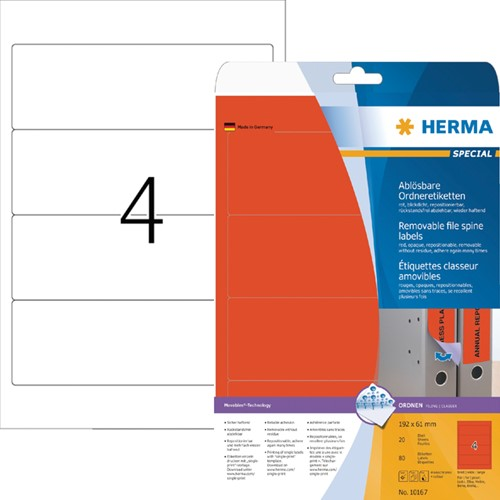 RUGETIKET HERMA MOVABLE 10167 192X61MM -RUGETIKETTEN 10167 80ST ROOD