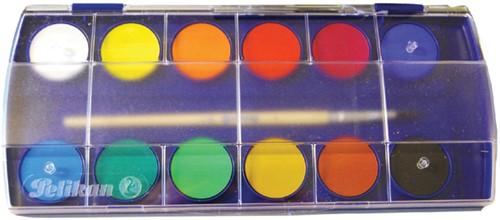 VERFDOOS PELIKAN F355/12 ASS -VERF/WAS-PASTELKRIJT/HOUTSKOOL 721324 Dekverfdoos pelikan f355/12 12 kleuren