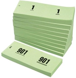 NUMMERBLOK 42X105MM NUMMERING 1-1000 -NUMMERBLOKKEN V.CLO.1060-G GROEN 10STUK
