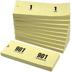 NUMMERBLOK 42X105MM NUMMERING 1-1000 -NUMMERBLOKKEN V.CLO.1060-Y GEEL 10STUK