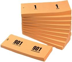 NUMMERBLOK 42X105MM NUMMERING 1-1000 -NUMMERBLOKKEN V.CLO.1060-S ORANJE 10STUK