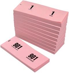 NUMMERBLOK 42X105MM NUMMERING 1-1000 -NUMMERBLOKKEN V.CLO.1060-R ROZE 10STUK