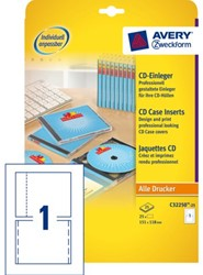CD INLEGKAART AVERY ZWECK C32250-25 -CD/DVD ETIKETTEN C32250-25 151X118MM 25ST