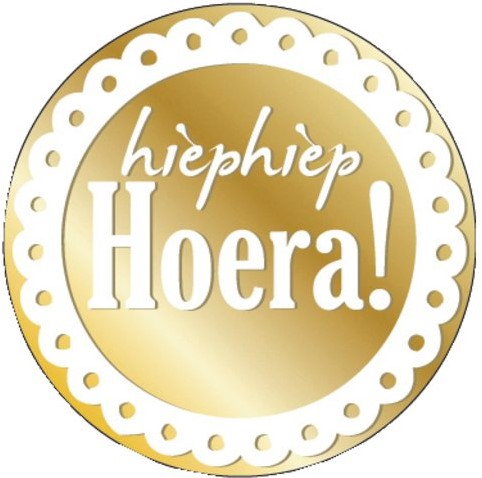 ETIKET HAZA HIEPHIEP HOERA GOUD/WIT -CADEAUPAPIER/LINTEN/STRIKKEN 971976 100ST