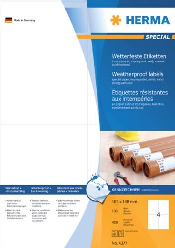 ETIKET HERMA 4377 105X148MM -UNIVERSELE PRINTERETIKETTEN 4377 WEERBESTENDIG 400ST WT