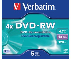 DVD-RW VERBATIM 4.7GB 4X 5PK JC -DVD'S 43285 CD-R NASHUA 700MB 80MIN 52X SLIMLINE ZIL