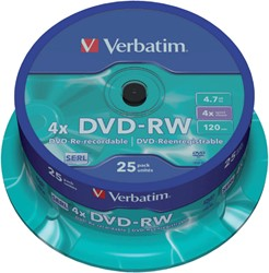 DVD-RW VERBATIM 4.7GB 4X 25PK SPINDEL -DVD'S 43639 CD-R
