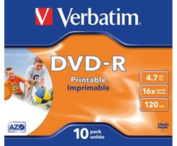 DVD-R VERBATIM 4.7GB 16X PRINTABLE 10PK -DVD'S 43521 JC