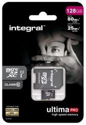 GEHEUGENKAART INTEGRAL MICRO SDXC 128GB -GEHEUGENKAARTEN INMSDX128G10-80/25U1 ULTIMAPRO CL10