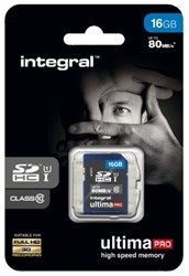 GEHEUGENKAART INTEGRAL SDHC 16GB -GEHEUGENKAARTEN INSDH16G10-80U1 ULTIMAPRO CL10