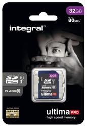 GEHEUGENKAART INTEGRAL SDHC 32GB -GEHEUGENKAARTEN INSDH32G10-80U1 ULTIMAPRO CL10