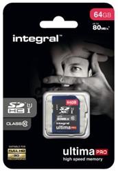 GEHEUGENKAART INTEGRAL SDHC 64GB -GEHEUGENKAARTEN INSDX64G10-80U1 ULTIMAPRO CL10