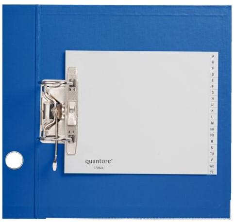 ORDNERALFABET QUANTORE 18X23 2RINGS PP -HUISMERK TABBLADEN 24822 GRIJS